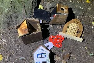 The damaged fairy boxes after the vandalism.