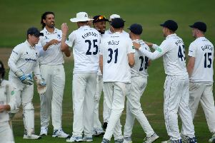 Sussex celebrate a Gloucs wicket during the game at Bristol / Picture: Getty Images