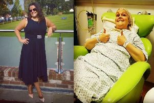 Claire Roache from Gosport before her diagnosis and during treatment