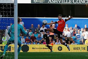 Harry Cornick sets up James Collins for his goal at QPR on Saturday