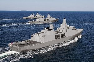 Artist impression of the Arrowhead 140 warship. Engineering giant Babcock has been named the preferred bidder for the 1.25bn contract to build a new fleet of Royal Navy frigates Photo credit should read: Babcock/PA Wire