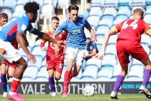 Josh Flint made his mark on his Pompey debut against Norwich under-21s on Saturday. Picture: Joe Pepler