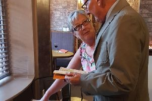 Gay Norman pictured with Terry Taylor, Spilsby Mayor, at the launch of the Camino Adventure at the White Hart Spilsby on the 13th September.