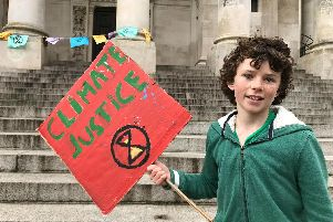 Finn Piper, 11, from Emsworth, at the last Climate Change Protest.