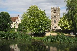 Buriton village pond and church, East Hampshire