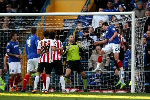 Joel Ward heads Pompeys leveller against Saints in the last game at Fratton between the teams in 2011