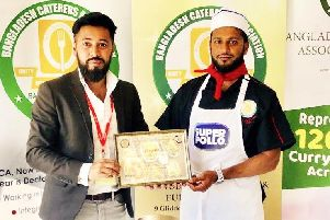 Shahriar Uddin and Juned Ahmed from Paanchi at the Bangladesh Caterers Association UK awards, which they are in the finals for curry chef of the year.