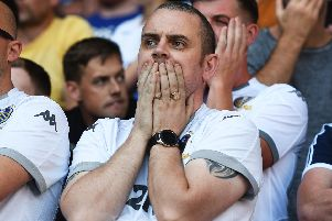 Leeds fans react to conceding a late equaliser against Derby.