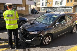 Police at the scene of a crash in Knowsley Road, Cosham, in Portsmouth at around 10am. Picture: Richard Lemmer