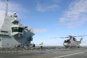 HMS Prince of Wales ticked off another huge landmark during her sea trials with the landing on deck of a Merlin from 820 Naval Air Squadron. Picture: LPhot Pepe Hogan/ MoD