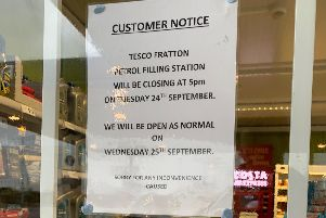 The sign outside Tesco warning of its early closure ahead of Pompey match.