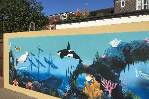 Westover Mural representing the sea creatures which make up the school's different classes.