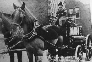 No sex discrimination back in 1917 when Mabel Silver took the reins of the fire-engine horses. Photo: S Cribb / Barry Cox collection.