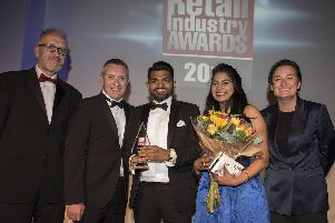 Imtiyaz Mamode, who owns the Premier shop in Wych Lane, Gosport, with his wife Supriya Namdeo at the Retail Industry awards 2019. Photography by Fergus Burnett''Accreditation required with all use - 'fergusburnett.com'