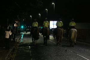 Police on horses on Goldsmith Avenue. Picture: Habibur Rahman