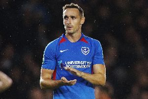 Brandon Haunstrup applauds the Fratton faithful after Pompey's loss to Southampton. Picture: Joe Pepler