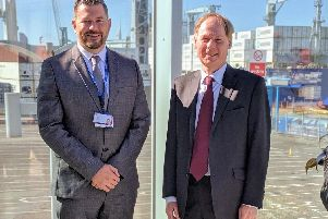 Ben McInnes is taking over from Rupert Taylor, right, at Portsmouth International Port