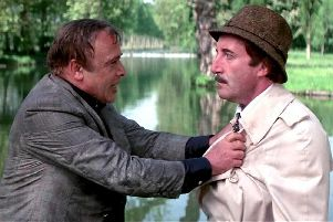 Inspector Jacques Clouseau (Peter Sellers) with his boss Dreyfus (Herbert Lom). Alun has likened himself to using Clouseau tactics against his daughter...