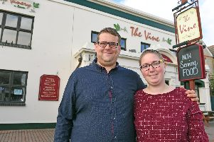 Sean Rowlands, left, and his wife Vicky outside The Vine in Gosport. Picture: Malcolm Wells (190926-7826)