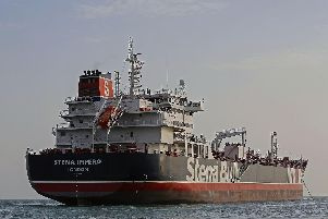 British-flagged tanker Stena Impero anchored off the Iranian port city of Bandar Abbas. Picture: Hasan Shirvani/AFP/Getty Images