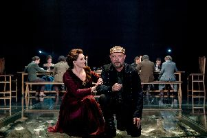 Dervla Kirwan and John Simm in Macbeth at Chichester Festival Theatre. Picture by Manuel Harlan