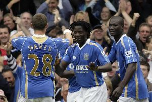 Benjani celebrates a goal in Pompey's record-breaking Premier League fixture with Reading in 2007