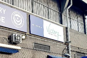 Defunct council-owned company Victory Energy sponsored Portsmouth Football Club in March 2018 in a three-year deal. A sign shown the now-closed public firm at Victory Lounge, Fratton Park, in Portsmouth.