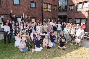 Doreen Thomas celebrates her 100th birthday with her friends and family at Hale Court, Portsmouth. Picture: Duncan Shepherd