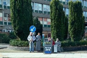 Anti abortion protesters outside St Mary's Hospital in Milton.