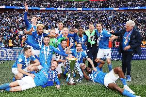 Pompey celebrate their EFL Trophy at Wembley. Picture: Joe Pepler
