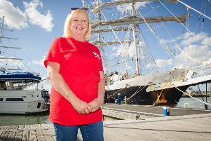 Cheryl Spencer in front of the Lord Nelson tall ship. Picture: Habibur Rahman