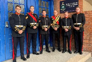Members of the Royal Marines Band from Portsmouth who will be taking part in this year's Great South Run. Photo: Royal Navy