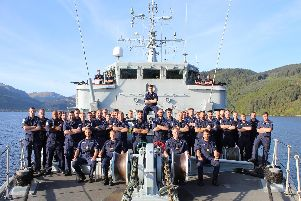 HMS Cattistock and her ship's company in Scotland ahead of their Nato deployment in the Baltic