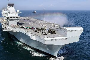 HMS Queen Elizabeth carrying out flight trials in the US. Photo: LPhot Kyle Heller