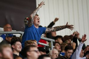 Pompey fans at the Keepmoat Stadium. Picture: Daniel Chesterton/PinPep
