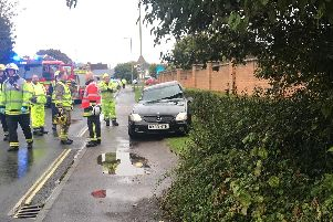 Scene of the Hayling Island crash in which a woman was cut free from her vehicle.
