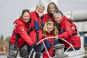 Tracy Edwards MBE, second from left, and crew reunited with Maiden 27 years after sailing into the history books. Christopher Ison/PA Wire.