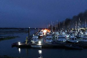 The fire broke out at Sparkes Marina in Hayling Island this morning. Picture: Simon Sutt