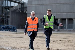 Labour Party leader Jeremy Corbyn (left) speaks to Julian Brown, UK Country Manager for MHI Vestas Offshore, during a visit to the decommissioned Fawley Power Station in Hampshire. Picture: Andrew Matthews/PA Wire