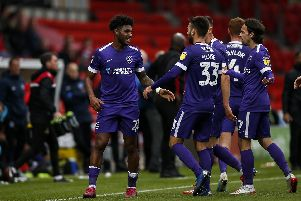Ellis Harrison celebrates his winner at Doncaster. Picture: Daniel Chesterton/PinPep