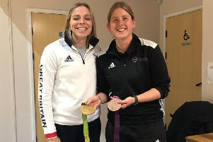 Louth Hockey Club commitee member Amie Wright with hockey star Kate Richardson-Walsh EMN-191014-100536002