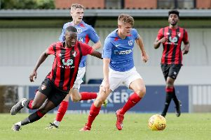 Joe Hancott in action against Bournemouth at Nyewood Lane. Picture: Robin Jones
