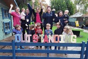 Staff and children at Good Manors Day Nursery which has been judged outstanding in a recent Ofsted inspection.