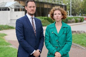 Stephen Morgan MP and Anneliese Dodds, shadow treasury minister, pictured outside Lynx House in Cosham in 2018. Picture: Sarah Standing (180724-5641)