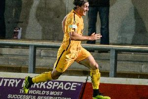 Stefan Galinski celebrates his goal. Photo by Craig Lamont/Basford United FC