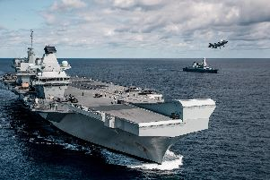 Four F-35B jets recently landed on the carrier - the first time an RAF plane has touched down on Queen Elizabeth. Photo: MoD