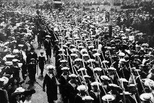 Bluejackets on the march: A pre-March 16, 1921, photograph as Sennit hats were discontinued as part of naval rig after that date. Picture: Barry Cox postcard collection.