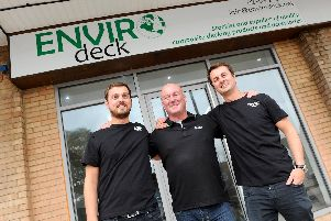 Envirodeck is set to open their doors on Wednesday, October 23, in London Road, Cowplain.''Pictured is: (l-r) Ryan Blackburn (28), Andy Blackburn (56) and Aaron Blackburn (30).''Picture: Sarah Standing (151019-9264)