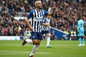 Brighton and Hove Albion striker Neal Maupay will be up against his old manager Dean Smith as they travel to Aston Villa on Saturday.