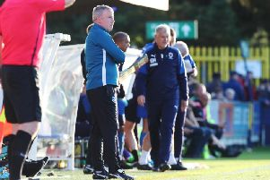 Kenny Jackett watches the action at Kingsmeadow / Picture: Joe Pepler